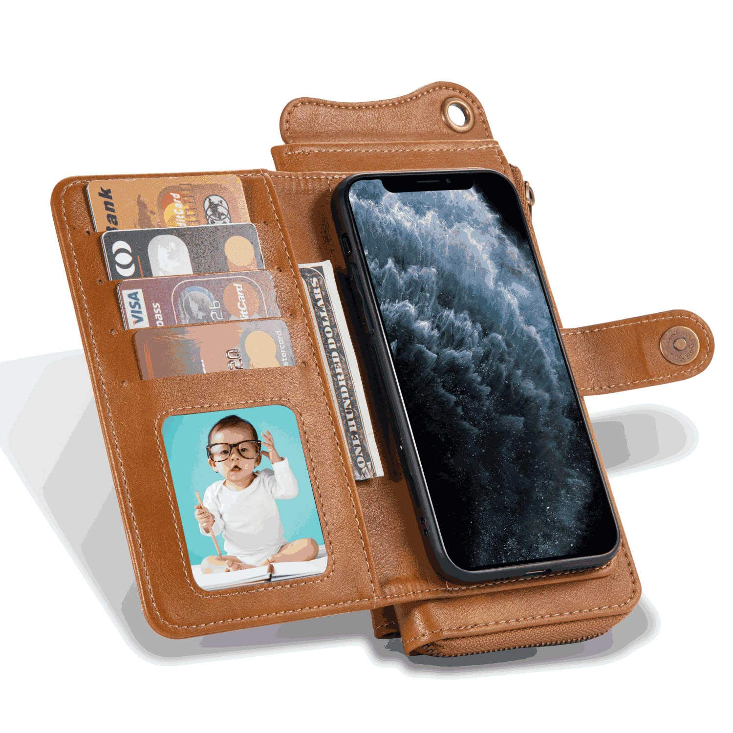 Coffee Leather Flip Case Wallet for iPhone 11 Pro Max Stylish Cover Compatible with iPhone 11 Pro Max