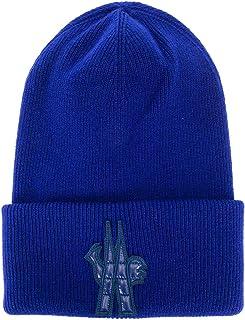 Moncler Grenoble Men's Blue Wool Logo Beanie Hat Oversized