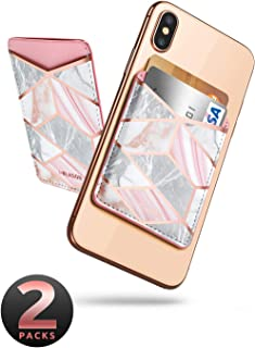 i-Blason Phone Card Holder, [2-Pack] Ultra Thin PU Leather 3M Adhesive Stick-on ID Credit Card Wallet Sticker Case Pouch Pocket for Most Smartphones (Marble)