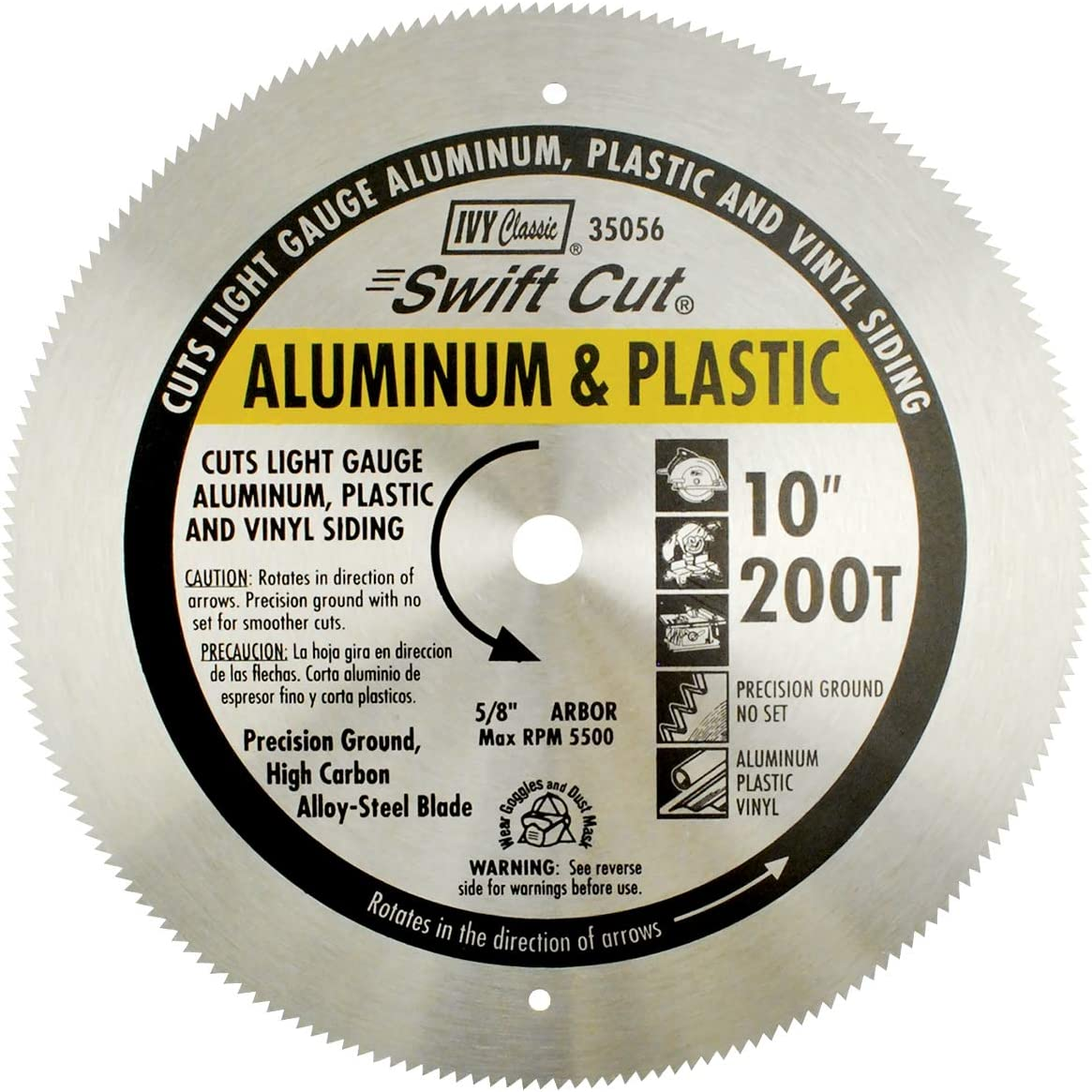 """IVY Classic 35056 Swift Cut 10"""" 200 Tooth Aluminum & Plastic Cutting Circular Saw Blade with 5/8"""" Arbor, 1/Card"""