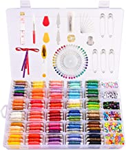 Peirich Embroidery Floss with Organization Box, Includes 99 Colors Embroidery Floss Cross Stitch Kits, Letter Beads for Friendship Bracelets, Jewelry Making, Embroidery Thread