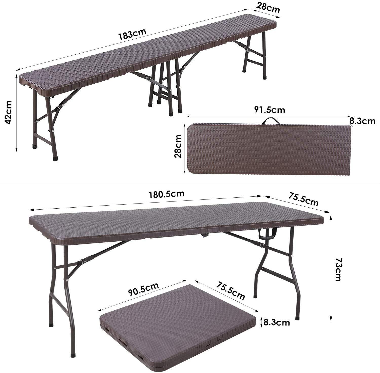 MVPower Conjunto de Mesa y Bancos de Jardín y Terraza, Mesa y Banco Plegable de Imitación de Rratán, con Estructura de Acero y Asa, Estable, Mesa ca :180.5 x 75.5 x 73cm,