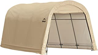 ShelterLogic 10' x 15' x 8' All-Steel Metal Frame Round Style Roof Instant Garage and AutoShelter with Waterproof and UV-Treated Ripstop Cover