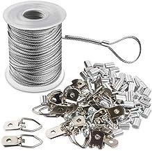 Fotolijst Hanging Wire Kit gevlochten roestvrij staal vinyl gecoate draadspoel 1,5 mm x 100 voet en 30 delen D-ring-fotoha...