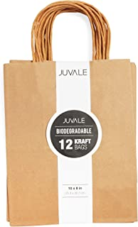 Juvale 12-Count Brown Kraft Bags - Paper Bags with Handles, Great as Wedding Favor Bags, Shower Favor Bags, Bridal Party Gift Bags, Medium, 8 x 10 x 4.5 Inches