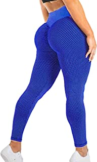 TSUTAYA Women`s Ruched Butt Lifting Yoga Pants High Waist Tummy Control Push Up Workout Leggings Textured Booty Tights
