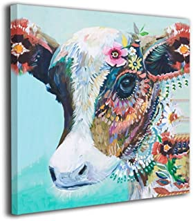 Mout Art Colorful Animal Cow Painted Framed Oil Paintings Printed On Canvas Wall For Office Home Decor Pictures Modern Artwork Hanging For Living Room Decorations Ready To Hang