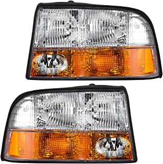 Headlights Headlamps with Fog Lamps Driver and Passenger Replacements for GMC Sonoma Pickup Truck Jimmy SUV 16526225 16526226