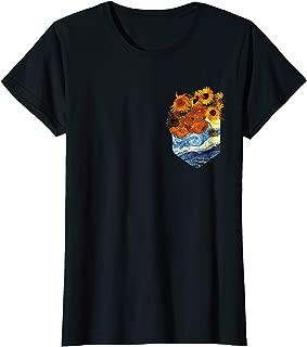 Womens Sunflowers Van Gogh T-Shirt - Vintage Floral Pocket Tee Gift