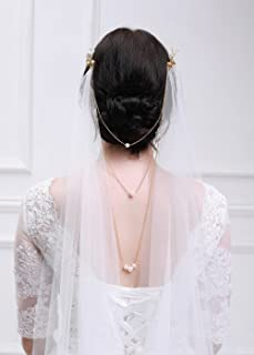 Kercisbeauty 3M 1 Tier Soft Tulle Sheer Cathedral Wedding Lace Veil Single Layer Drop with Gold Flower Comb Multi Layer Pearl Chain for Bride Bridal Headpiece Hair Dress (Ivory)