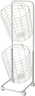 山善 ランドリーラック 幅35×奥行40×高さ107cm コンパクト ワイヤー 持ち手・キャスター付き 組立品 ホワイト RLB-2C(WH)