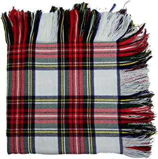 Traditional Scottish Highland Kilt Fly Plaid 48'' x 48'' in Various Tartans with Free Matching Kilt Flashes