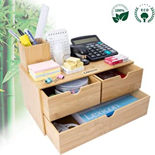 $29 » Bamboo Desk Organizer - Mini Bamboo Desk Drawer Tabletop Cosmetic Storage Organization for Office or Home (3 Drawer)