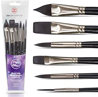 Watercolor Paint Brushes – Smart 6 pc Black Tulip Short-Handle Watercolor Brush Set for Consistent Flow – Gouache, Watercolors, Fluid Acrylics, Inks - Synthetic Squirrel Hair, Vegan, by ZenART
