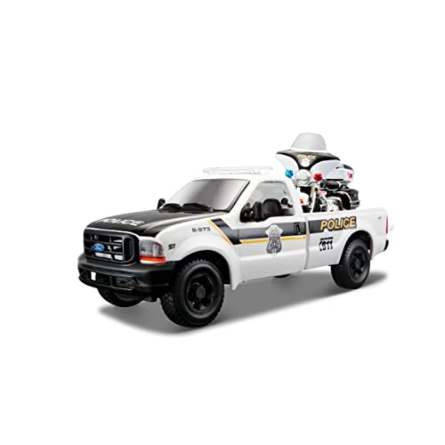 Maisto 1:24 Scale 1999 Police Ford F350 and Harley Davidson 2004 FLHTPI Electra Glide