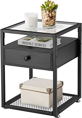 VECELO Modern Side, Nightstand, Tempered Glass End Table, Cabinet with Drawer and Rustic Shelf, Decoration in Living Room,Bedroom,Lounge-Black