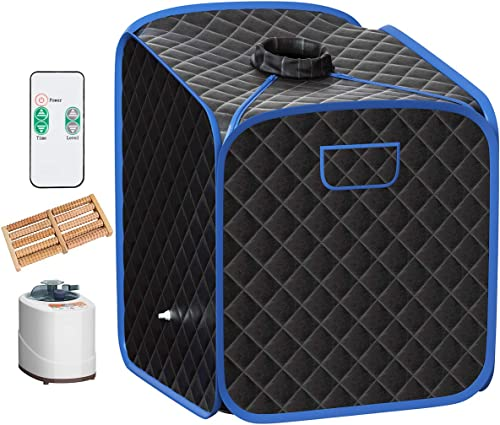 2021 Giantex Portable Steam Sauna lowest Spa 2L Folding online Private Sauna Tent W/Chair Foot, Massage Roller, Absorbent Pad,9 Adjustable Temperature Levels for Weight Loss, Detox, Stress Fatigue 33 x 33x 42(Black) outlet online sale