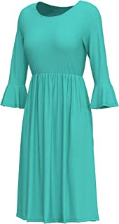 cokuco Women's Midi Dresses with 3/4 Bell Sleeve Elastic Waist