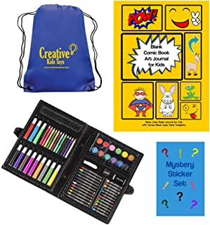 Blank Comic Book Kids Art Journal Kit with Portable Art Set and Blank Comic Book Sketchbook, Mystery Stickers and Backpack