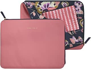 Durable Vegan Leather Laptop Sleeve with Zip Closure and Soft Interior Lining, Fits up to 15 Inch New MacBook Pro 2016-2019 and Includes Clip-in Storage Pouch for Accessories, Poppy Floral