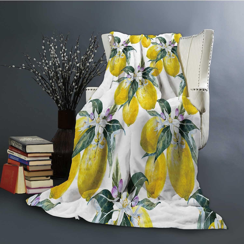 Dxichy Blooming Lemon Flannel Blanket Super Blan Over item handling ☆ Cozy Soft 5 popular m Bed