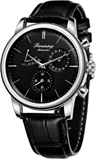 Forsining Men's Automatic Power Reserve Watch Calendar Black Leather Strap Watch