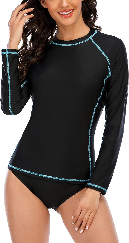 isnowood Rash Guard Women Swimsuit Long Sleeve UPF 50+ UV Sun Protection Shirts Surfing Bathing Swimwear Tops