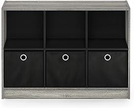 "FURINNO Basic 3x2 Bookcase Storage, 3"" X 2"", French Oak Grey/Black"