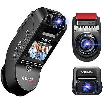 自動的に駐車モードに切り替え機能 YAZACO 3カメラ搭載 ドライブレコーダー 前後カメラ 360度回転 4K ドラレコ GPS 800万画素 車内外同時録画 2.0インチ Ultra HD 赤外線暗視機能 動体検知 駐車監視 LED信号対応 衝撃録画 18ヶ月保証期間