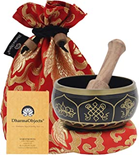 DharmaObjects ~ Tibetan OM MANI Singing Bowl Set ~ With Mallet, Brocade Cushion & Carry Bag ~ For Meditation, Chakra Healing, Prayer, Yoga (Eight Lucky Symbol, Black)