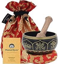 DharmaObjects ~ Tibetan OM MANI Singing Bowl Set ~ With Mallet, Brocade Cushion & Carry Bag ~ For Meditation, Chakra Healing, Prayer, Yoga (Eight Lucky Symbol, Black)