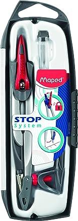 Maped - Coffret Compas Maped Stop System 3 pièces - Système de Verrouillage Breveté - Tracé Parfait - Avec Sécurité Protège Pointe et Mine - Compas Mine + Bague Universelle + Étui-Mines - Dès 10 Ans