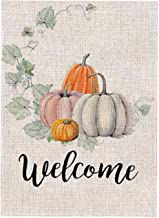 PINCHUANG 28 x 40 Inch Fall Welcome Pumpkin Garden Flag - Double Sided Decorative Autumn Thanksgiving Farmhouse Harvest Garden Flag Yard Burlap Banner for Indoor & Outdoor Decoration(Not Include a Fl
