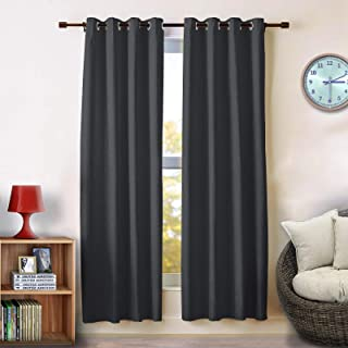 Voilarmart Darkening Blackout Curtains Thermal Insulated with Grommet Curtains Panels for Bedroom Window Curtain Set for Bedroom, Living Room, (2 Packs, 52 x 63 inch, Black)