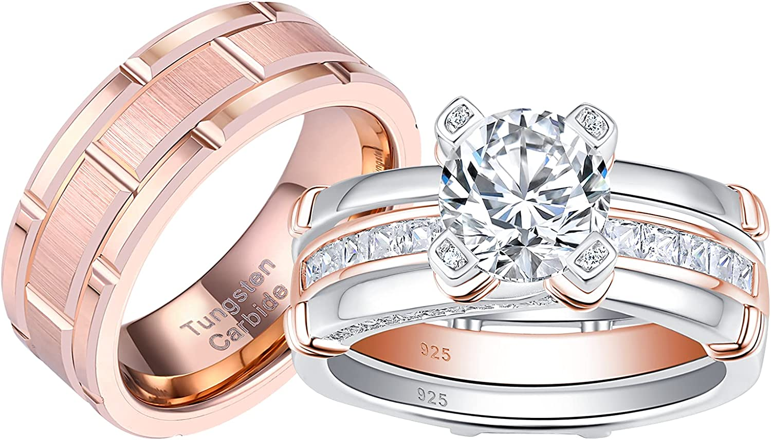 Blongme Fort Worth Mall Wedding Ring Sets excellence for him and Silver her Women Sterling