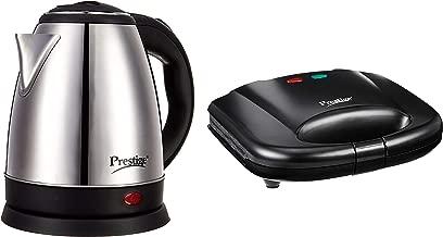 Prestige Electric Kettle PKOSS - 1500watts, Steel (1.5Ltr), Black + Prestige PGMFB 800 Watt Grill Sandwich Toaster with Fixed Grill Plates,Black