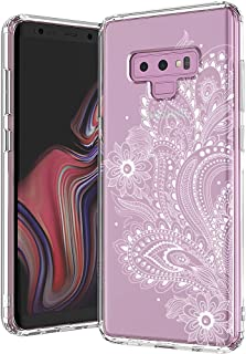 MOSNOVO Galaxy Note 9 Case, White Henna Paisley Floral Flower Pattern Clear Design Printed Transparent Plastic Back Case with TPU Bumper Protective Case Cover for Samsung Galaxy Note 9