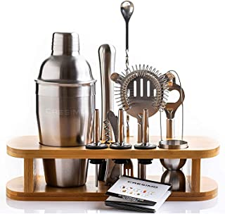 Cresimo Cocktail Shaker Bar Set - Brushed Stainless Steel 12 Piece Professional Bar Tool Kit for the Home - Includes Marti...