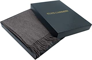 State Cashmere 100% Pure Cashmere Throw Blanket with Fringes Ultimately Soft and Warm (Coffee, One Size)