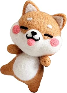 Cool Beans Boutique Wool Felting DIY Kit with Tools – Shiba Inu Dog Silly Smiling (with English Instructions) – Great Starter kit