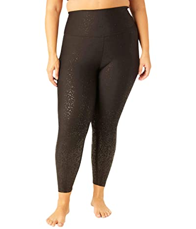 Beyond Yoga Plus Size Alloy Ombre High-Waisted Midi Leggings (Black Foil Speckle) Women