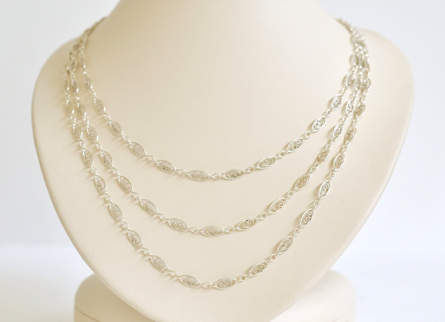 Sterling Silver Indianapolis Mall Filigree Fixed price for sale Necklace Intricate - T Chain