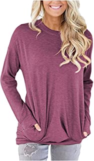 Women Solid Color Round Neck Casual Loose Long Sleeve Sweatshirt T-Shirts Tops Blouse