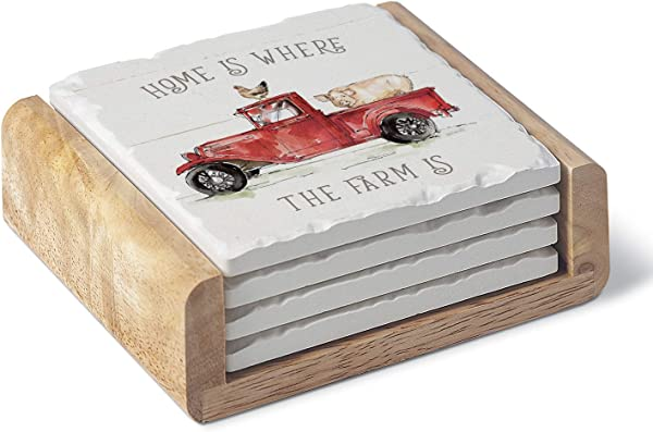 Highland Home Absorbent Stone Coaster Set Farm Truck Red 4 Coasters With A Wooden Holder