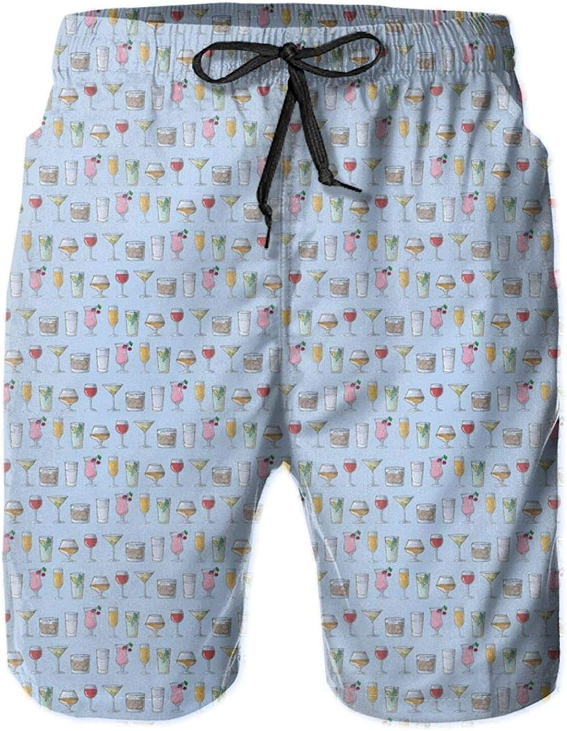 Continuous Pattern of Alcoholic Beverages in Various Glasses Mens Swim Trucks Shorts with Mesh Lining,M