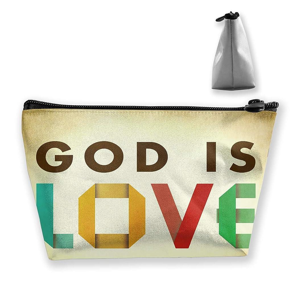 後貧困弱まる台形 レディース 化粧ポーチ トラベルポーチ 旅行 ハンドバッグ God Is Love コスメ メイクポーチ コイン 鍵 小物入れ 化粧品 収納ケース