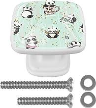 4 Stks Cartoon Panda Vierkante Witte Lade Trekt Handvat met Schroeven 30mm voor Kast Dressing Tafelkast Deurknoppen
