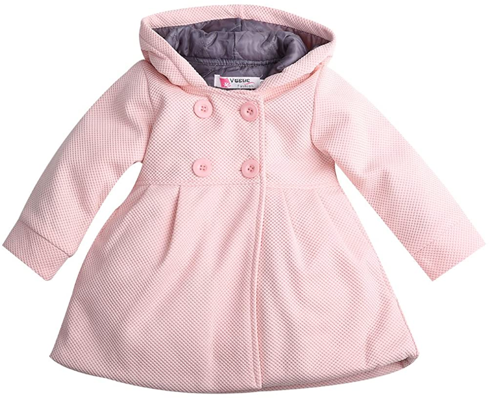 Baby Toddler Girls Fall Winter Trench Coat Wind Hooded Jacket Kids Outerwear (6-12 Months, Pink)