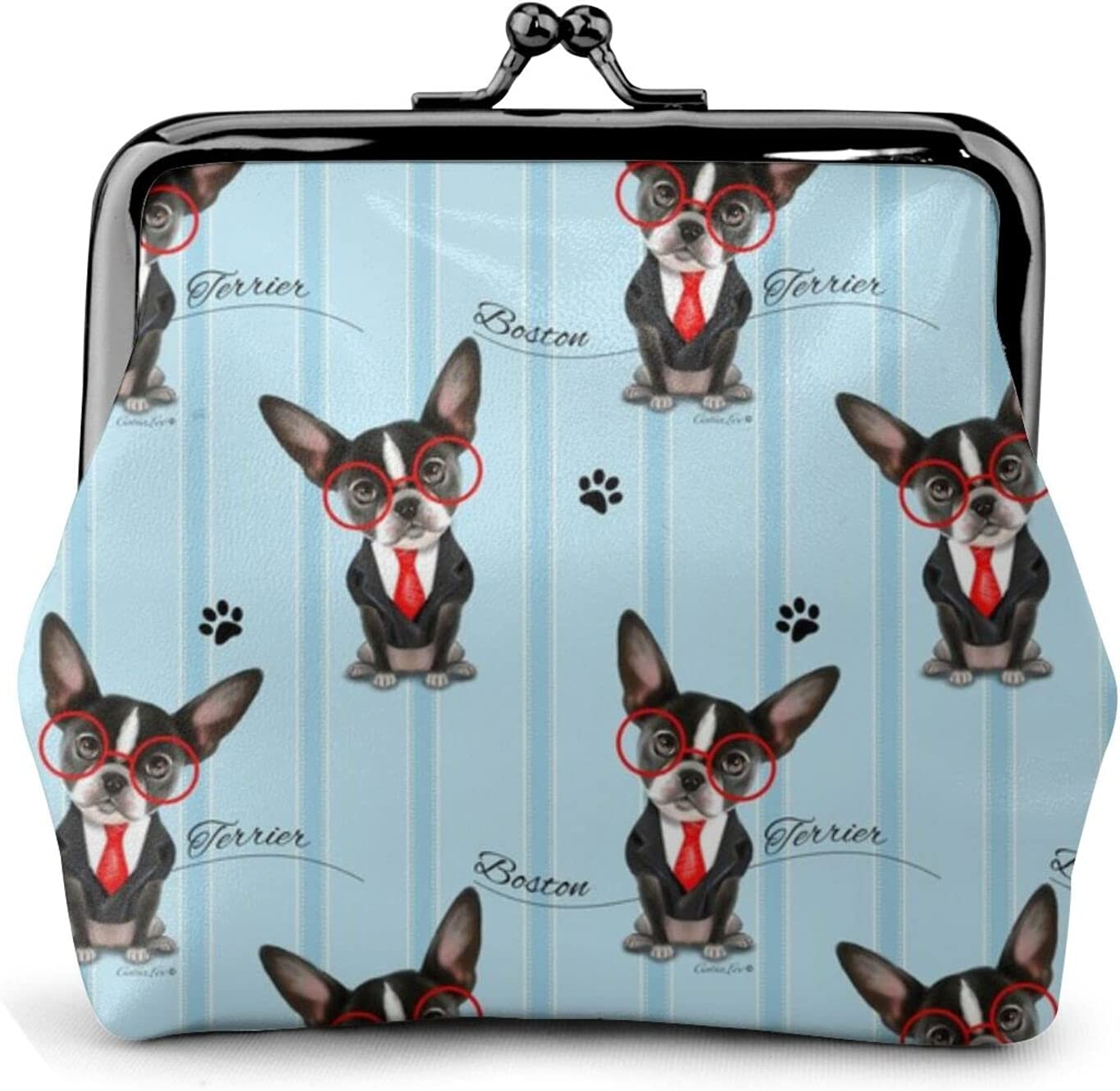 Boston Terrier Business 946 Coin Purse Retro Money Pouch with Kiss-lock Buckle Small Wallet for Women and Girls