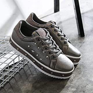 2019 Spring and Summer New Thick-Soled White Shoes Women's Help Face Bright Buckle Women's Shoes with Bright Buckle Fence Casual Shoes (Color : Silver, Size : 36)